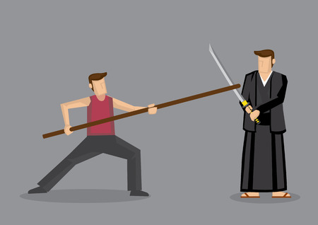 fighting styles: Cartoon vector illustration of man using Chinese staff weapon, long gun, sparring with man in Japanese Kendo uniform using Samurai sword, katana, isolated on grey background. Illustration