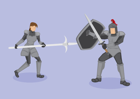 middle age women: Vector illustration of medieval warriors in protective metal armor fighting with ancient weapons, corseque, shield and sword isolated, on purple background.