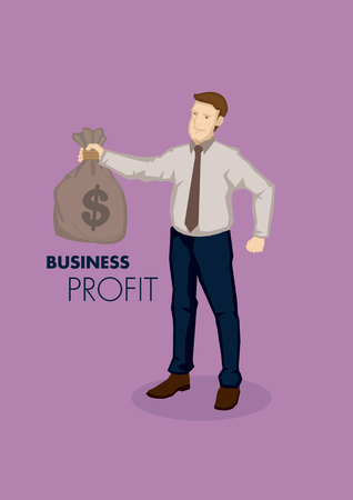 Vector business illustration of cartoon businessman character holding bag of money with text business profit. Concept profitability isolated on plain purple background. Illustration