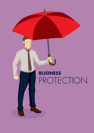 Cartoon Geschäftsmann mit einem großen roten Regenschirm getrennt auf Ebene lila Hintergrund. Metapher für den Schutz Vektor Business Illustration.