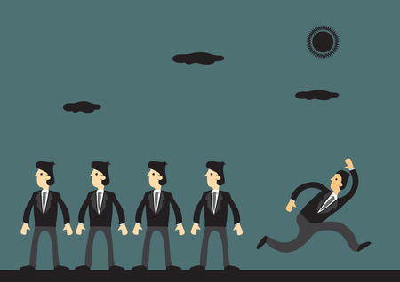 nonconformity: Cartoon businessman running away in opposite direction from homogeneous workers. Vector business illustration on being different and non-conformity concept.