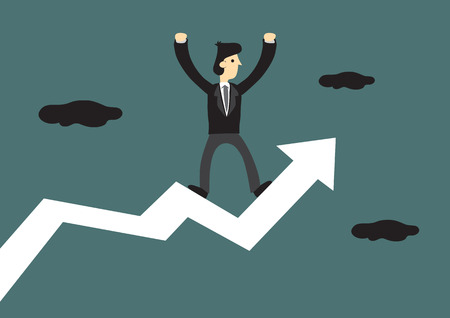 Cartoon businessman standing on a bold zig-zag up arrow with both hands raised in the air. Creative vector illustration for business concept. Çizim
