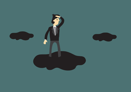 oversee: Cartoon businessman standing on a cloud in the sky with hand shielding above eyes in looking gesture. Creative vector illustration for business vision concept. Illustration