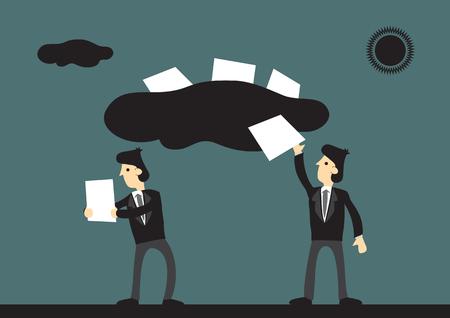 Cartoon businessmen utilisant la technologie cloud pour transférer et partager des informations. Illustration vectorielle sur la technologie pour le concept d'entreprise. Vecteurs
