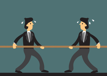 tough: Cartoon businessmen engaged in tough tug of war. Vector illustration on metaphor for challenging business competition.