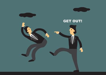 L'homme d'affaires de bande dessinée a donné un coup de pied à l'employé et crie Get Out. Illustration vectorielle sur le concept de terminaison d'emploi.