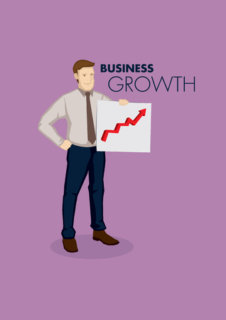 Cartoon businessman holding a business growth chart. Vector illustration on business growth concept isolated on purple background. Illustration