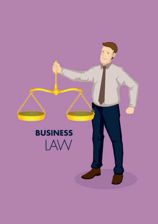 Vector ilustración de negocios de carácter profesional de negocios de dibujos animados con el equilibrio de oro de la vendimia balanza, metáfora de derecho de los negocios.