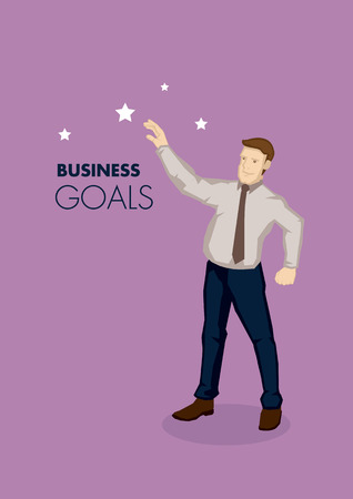 metaphor: Vector business illustration of cartoon businessman character reaching for the stars, metaphor for business goals isolated on plain purple background.