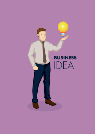 creator: Cartoon business professional with incandescent light bulb on hand. Vector illustration for business idea concept isolated on purple background.