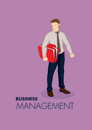 Vector illustration of business professional carrying a document folder isolated on purple background with text Business Management. Illustration