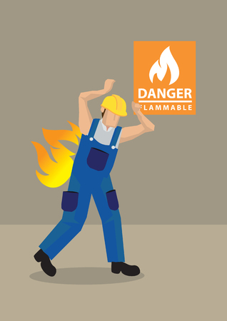 flammable warning: Cartoon vector illustration of worker in blue overall and yellow helmet caught in fire accident at workplace with Danger Flammable warning sign in background. Concept for workplace safety.