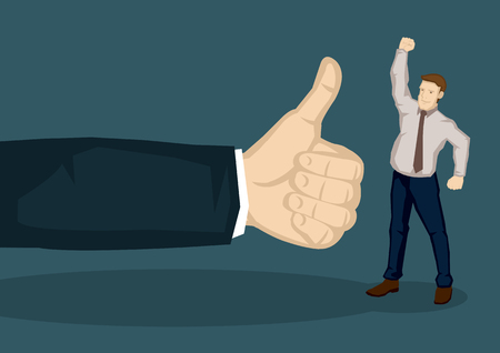 praise: Cartoon man in work wear raising fist up in victory gesture and a huge hand with thumbs up gesture beside him. Vector cartoon illustration for work appraisal concept isolated on green background.