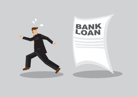 Cartoon businessman running away from giant Bank Loan document chasing after him. Creative vector illustration on avoiding bank loan concept isolated on grey background. Illustration