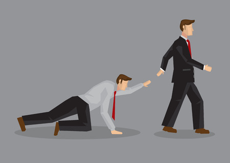 asking: Cartoon uncaring businessman walking away from coworker crawling on the floor and calling out for help. Vector illustration on lack of empathy in indifferent society concept isolated on grey background.