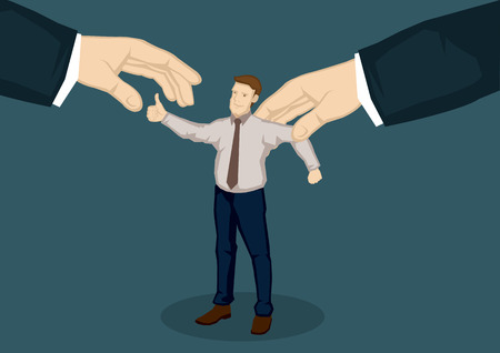 Cartoon man with thumbs up gesture representing good worker and two giant hands from the side trying to grab him. Vector illustration for head hunting for talent concept.