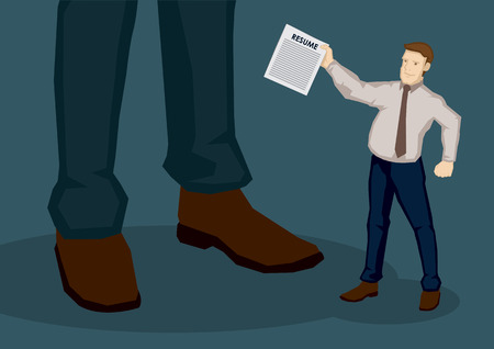 handing: Cartoon businessman as job seeker, handing his resume to unknown giant man, representing employer. Creative vector illustration for employment and recruitment concept. Illustration