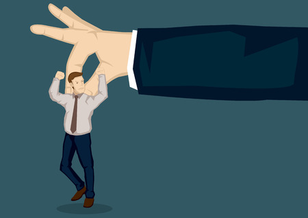 index finger: Giant hand picking a cartoon businessman with thumb and index finger. Vector illustration on picking on someone at workplace metaphor isolated on plain background.