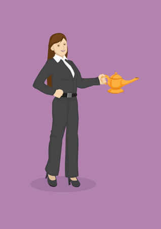 Vector illustration of cartoon business woman holding a magic lamp isolated on purple background. Illustration