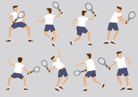 profess: Male tennis player holding racquet in various poses. Vector illustration cartoon character clip art set isolated on plain background. Illustration