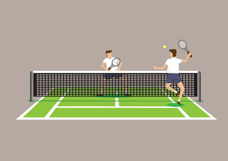 backview: Two tennis players playing in tennis court. Vector illustration isolated on bright brown background.