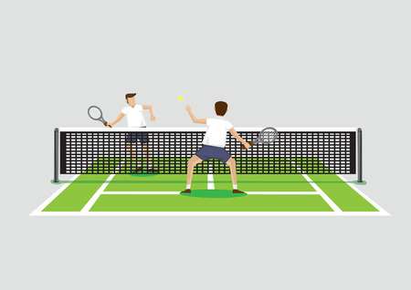 Vector illustration of two tennis players playing tennis sport in tennis court isolated on grey background. Stock Illustratie