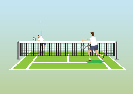 Vector illustration of two tennis players in tennis court and one serving tennis ball isolated on plain gradient background. Illustration