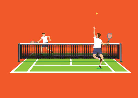 backview: Vector illustration of two tennis players in tennis court and one serving tennis ball isolated on bright orange background.