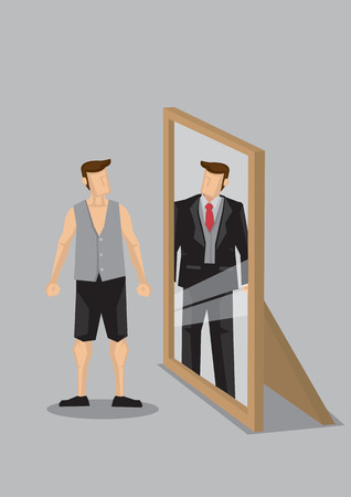 Cartoon man in casual wear stands in front of mirror and sees himself as a rich man in suit in reflection. Creative vector cartoon vector illustration on self-perception concept isolated on grey background.