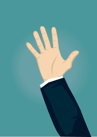 part of me: Mano levantada con la palma abierta que hace frente en frente y resplandor leve en fondo. Ilustración vectorial de dibujos animados aislado sobre fondo verde.