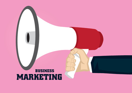 Hand holding megaphone with text Business Marketing isolated on pink background.