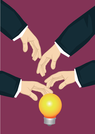 Many hands from the side reaching for illuminated light bulb, symbol for business idea. Creative vector cartoon business illustration on metaphor for popular business idea concept.