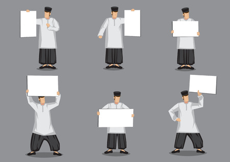 Set of six vector illustration of cartoon malay muslim man in traditional malay costume, a loose tunic over trousers and songkok headwear holding blank placard isolated on grey background. Illustration