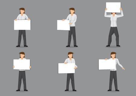 白い長袖シャツと黒ズボン灰色の背景上で分離コピー スペースで空白のプラカードを持っての漫画の女性キャラクターの六つのベクター クリップ   イラスト・ベクター素材