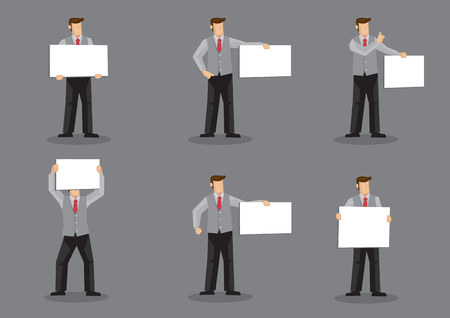 vested: Set of six vector illustrations of cartoon man character in grey vest suit over dress shirt and red necktie holding blank sign board with copy space isolated on grey background.