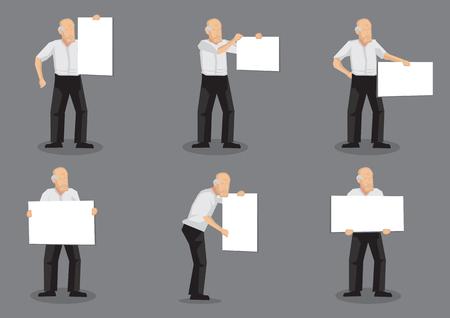 Conjunto de seis ilustraciones vectoriales de personaje de viejo hombre con un cartel en blanco con copia espacio aislado sobre fondo gris. Foto de archivo - 74124189