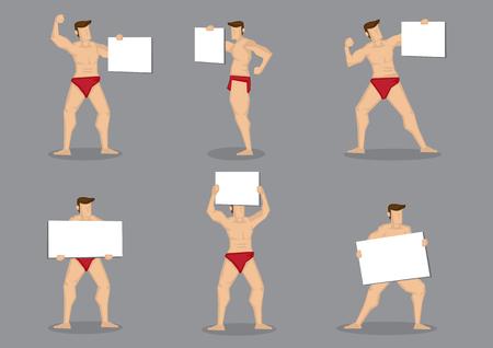 Un insieme di un'illustrazione del fumetto di sei vettori del carattere del costruttore di corpo maschio nei riassunti rossi caldi che tengono il segno in bianco del cartello isolato su fondo grigio.