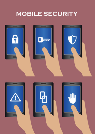 operating key: Hand holding mobile phone with security related conceptual symbol on touchscreen. Set of six vector illustrations on IT security concept isolated on plain  background.