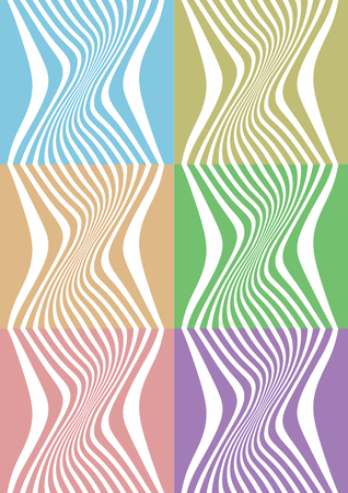 Set of six vector abstract background design of white lines in different sizes and distance creating optical illusion of 3D effect on varied soothing colored background.