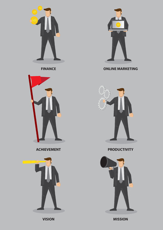 Set of six vector illustrations of businessman with conceptual symbols for business terms isolated on grey background.