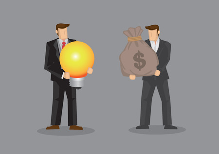 Businessmen using a bag of money to exchange a light bulb, metaphor for bright idea. Vector illustration on purchasing business idea concept isolated on grey background.