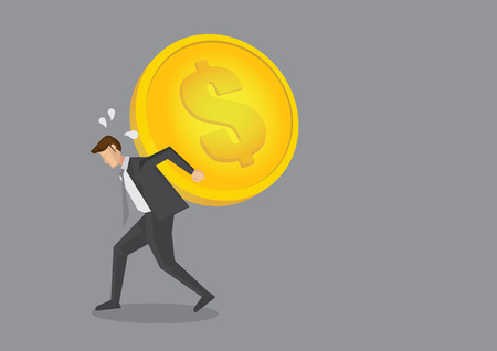 Cartoon businessman staggering and bending over with a huge heavy gold coin on his back. Creative vector illustration on financial and costs concept isolated on grey background. Illustration