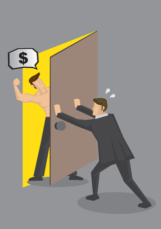 beefcake: Cartoon businessman pushing door to shut out hostile muscular man demanding for money. Vector illustration on personal finance and debt collection concept. Illustration