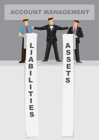 Cartoon business professional with long list of assets and liabilities. Creative vector illustration for metaphor on balance sheet management for account department. Illustration