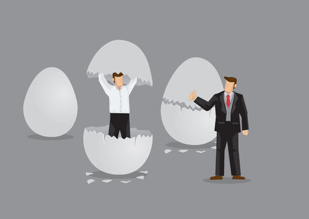 Cartoon businessman emerges from cracked egg. Creative vector illustration on metaphor for new and upcoming young business manager.