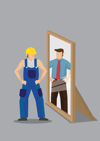 Blue-collar worker stands in front of mirror and sees himself as a business professional in reflection. Creative vector cartoon vector illustration on self-perception concept isolated on grey background.