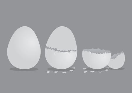 Vector illustration of perfect egg, cracked egg and broken pieces of shells isolated on grey background.