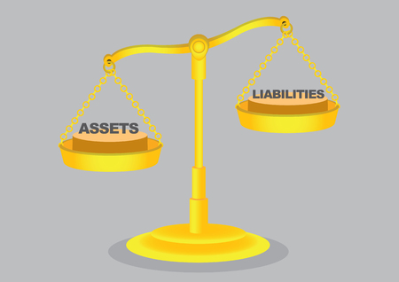 Balancing asset and liabilities on golden weighing scales isolated on grey background.