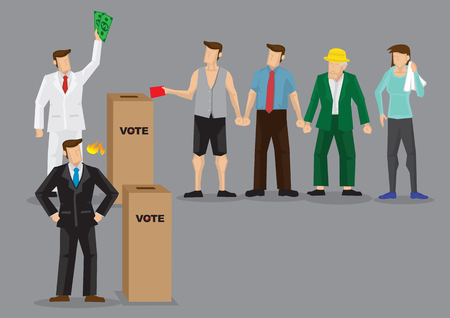 Rich man using money to buy votes. Vector illustration on unfair competition using bribery concept. Stock Illustratie