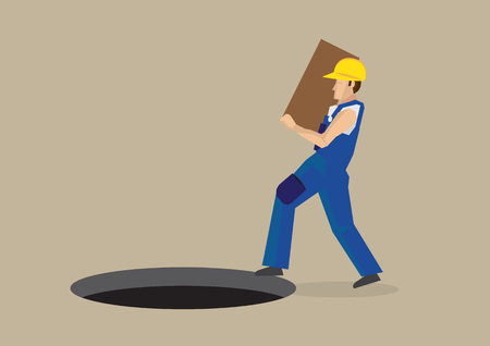 Worker carrying a box walking right into a exposed manhole on the ground in front of him. Иллюстрация